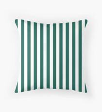 Celebration Town Dark Green and Front Porch White Large Vertical Stripes Throw Pillow