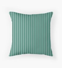 Celebration Town Dark Green and Front Porch White Small Treble Vertical Stripes Throw Pillow