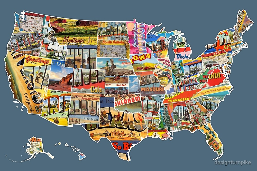 Postcards Of The United States Vintage Usa All States Map - Map of the 50 united states