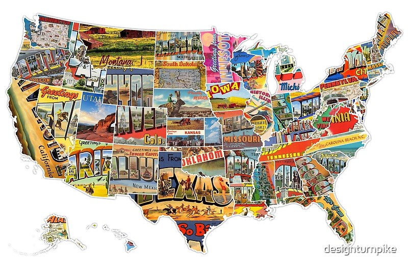 Postcards Of The United States Vintage Usa All States Map - Us map of all 50 states