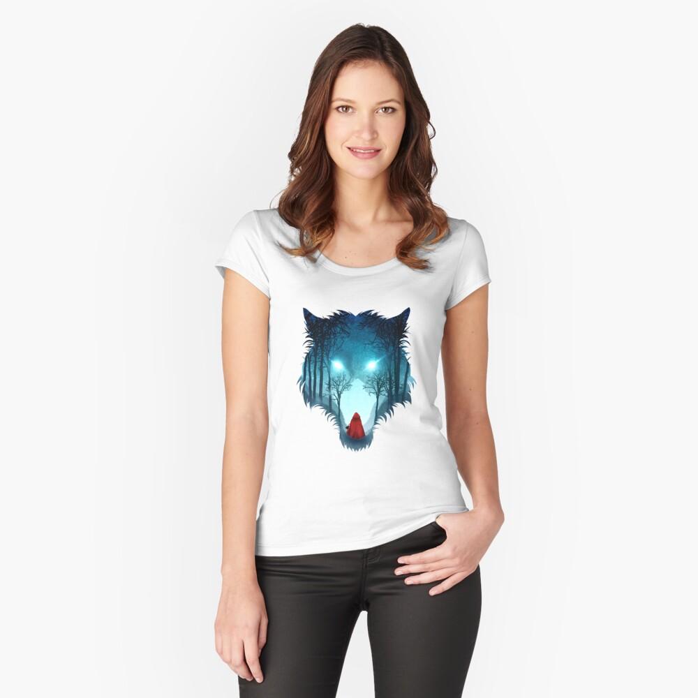 Großer böser Wolf (dunkle Version) Tailliertes Rundhals-Shirt