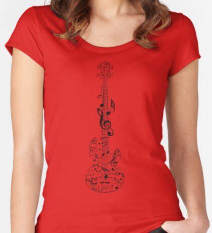 Gitarre und Musik Notes7 Tailliertes Rundhals-Shirt