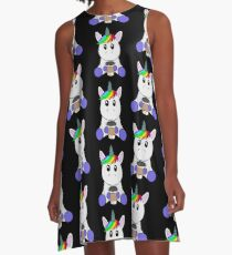 Unicorn with coffee to go cup | coffee lovers gift A-Line Dress