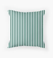 Celebration Town Green and Front Porch White Small Vertical Stripes Throw Pillow