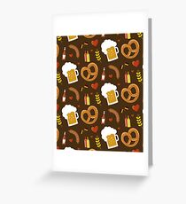 Tarjeta de felicitación Oktoberfest patrón pretzels cerveza Alemania