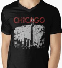 Vintage Chicago Tower Skyline Men's V-Neck T-Shirt