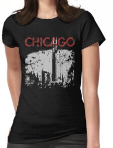 Vintage Chicago Tower Skyline Womens Fitted T-Shirt