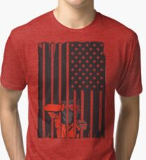 Guantanamo US Flag Political T-shirt. Prisoner behind bars. Tri-blend T-Shirt