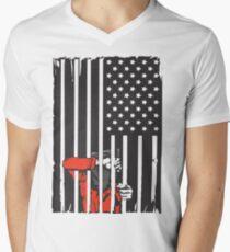 Guantanamo US Flag Political T-shirt. Prisoner behind bars. Men's V-Neck T-Shirt
