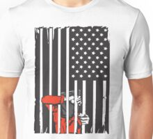 Guantanamo US Flag Political T-shirt. Prisoner behind bars. Unisex T-Shirt