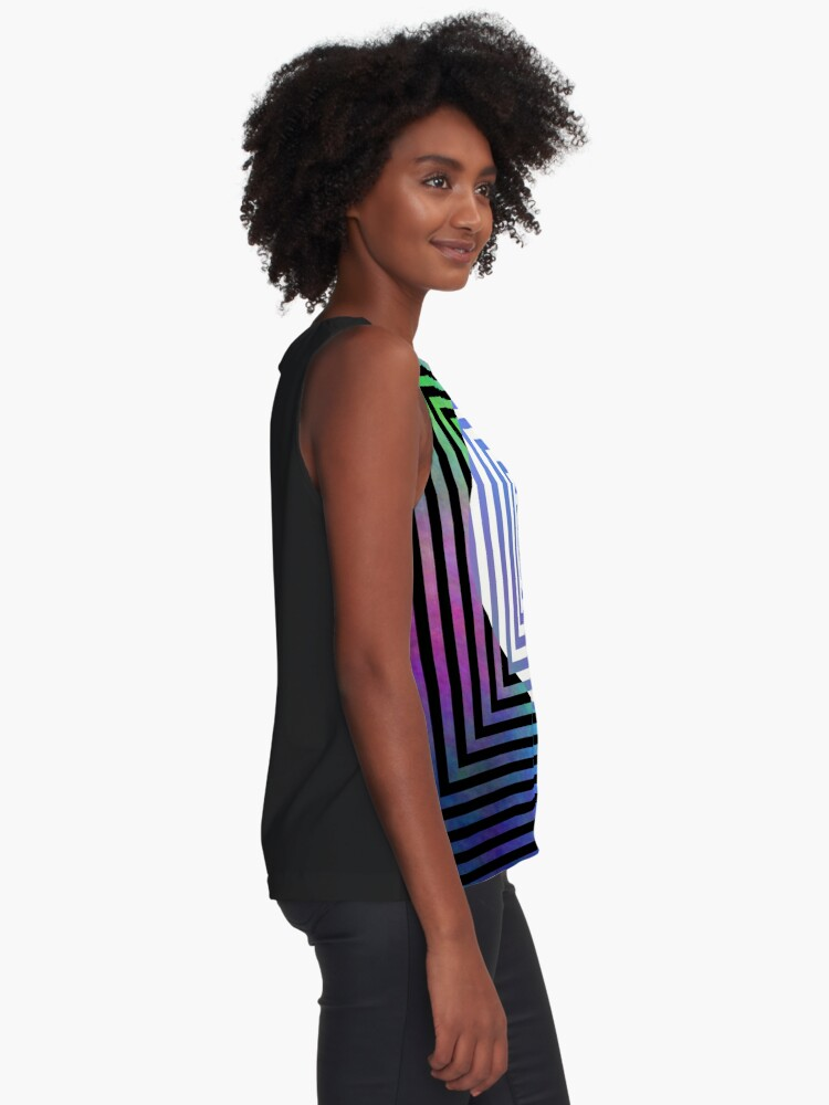 Alternate view of #Illusion, #pattern, #vortex, #hypnosis, abstract, design, twist, art, illustration, psychedelic Sleeveless Top