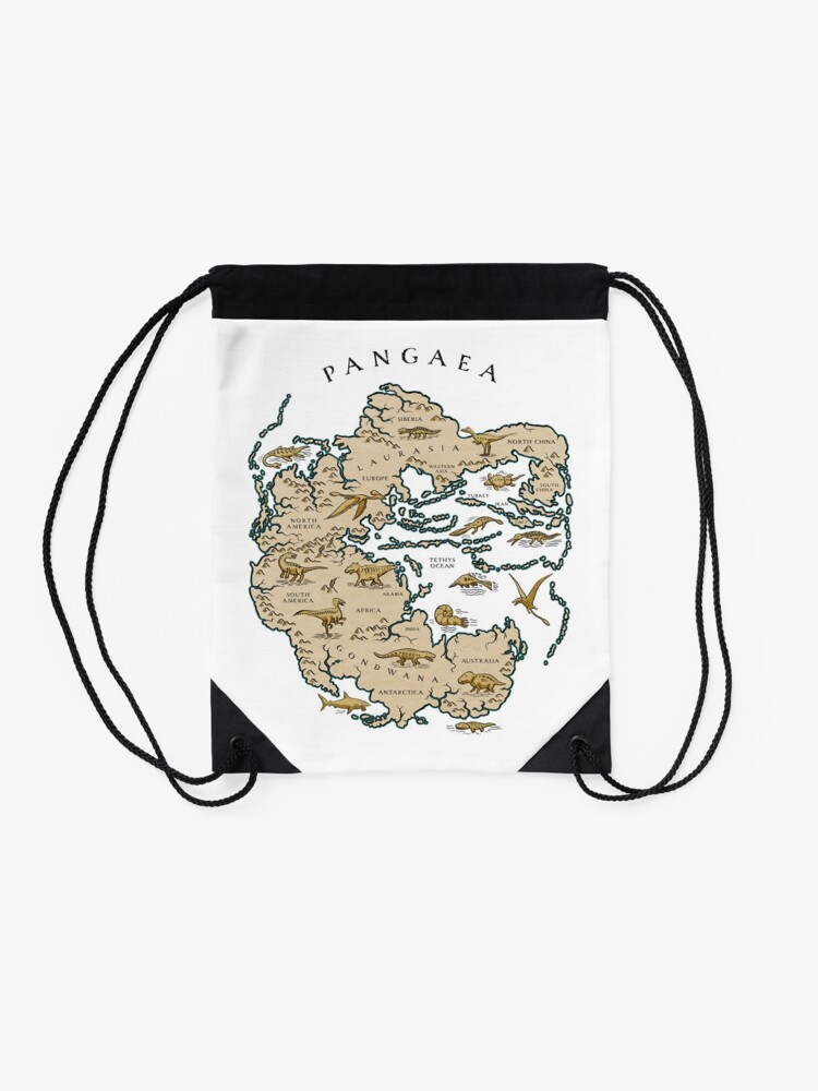 Alternate view of map of the supercontinent Pangaea Drawstring Bag