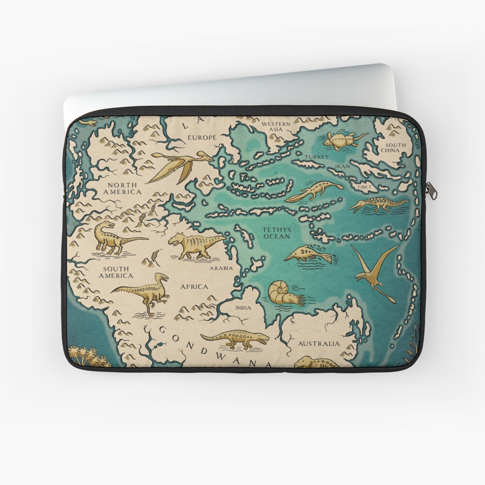 map of the supercontinent Pangaea Laptop Sleeve