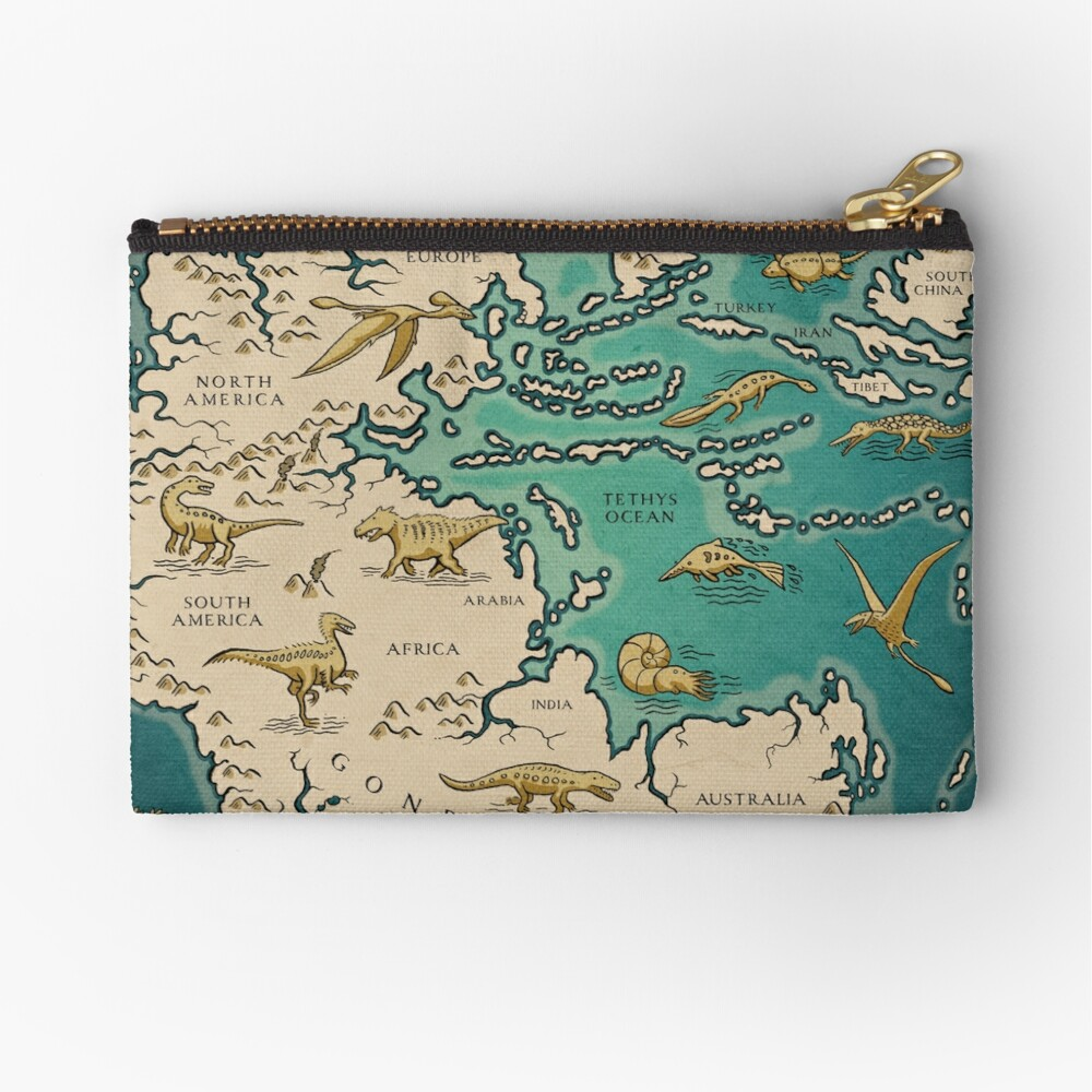 map of the supercontinent Pangaea Zipper Pouch