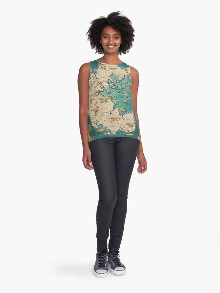 Alternate view of map of the supercontinent Pangaea Sleeveless Top