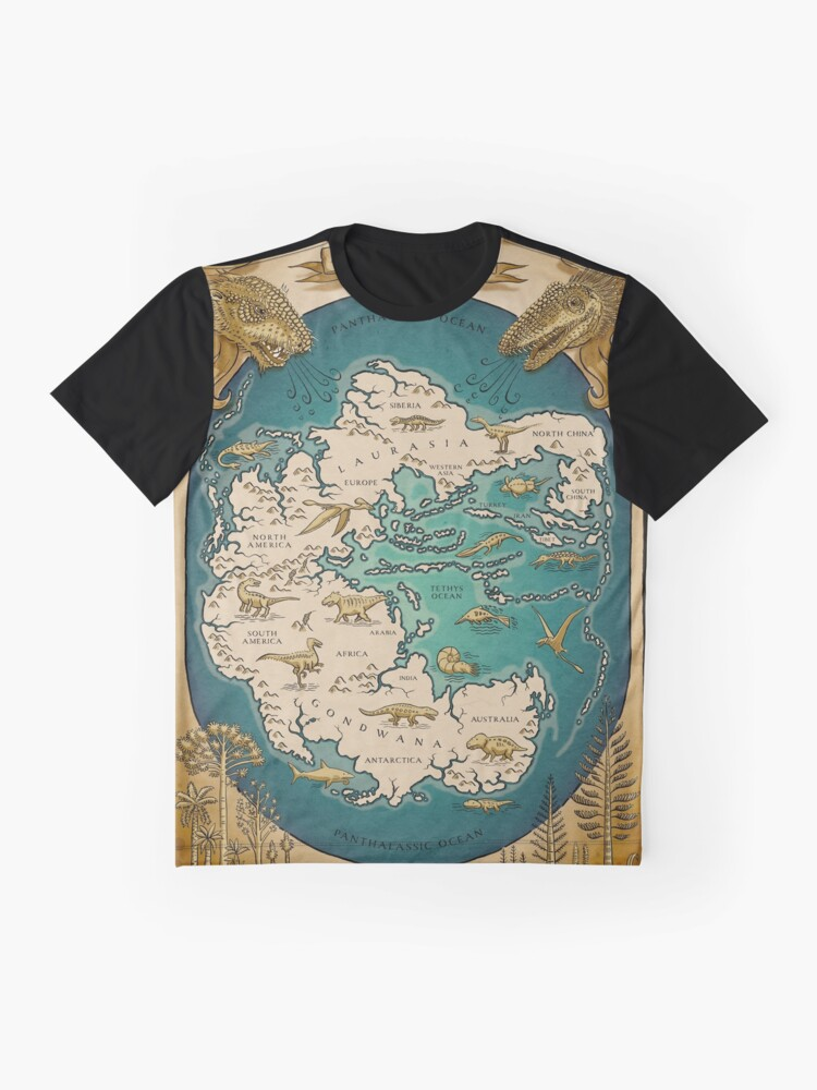 Alternate view of map of the supercontinent Pangaea Graphic T-Shirt