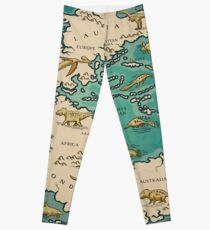 map of the supercontinent Pangaea Leggings