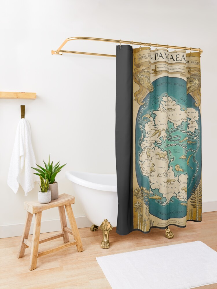 Alternate view of map of the supercontinent Pangaea Shower Curtain