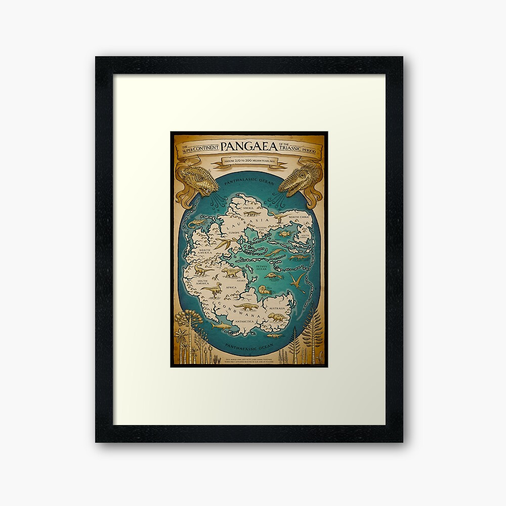 map of the supercontinent Pangaea Framed Art Print