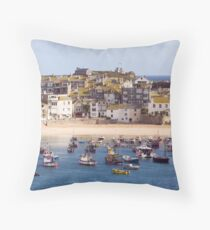 St Ives Harbour Village Throw Pillow