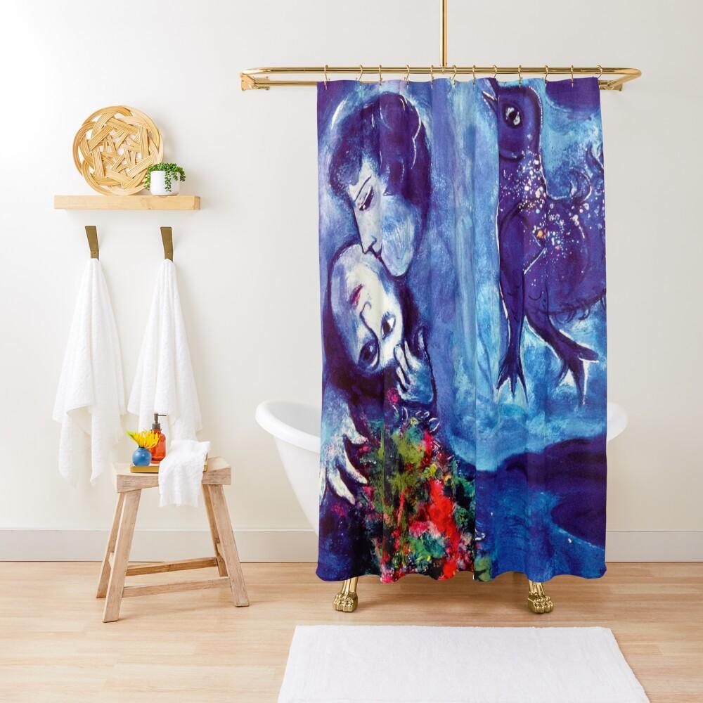 Marc Chagall, Le Paisage Bleu 1949 Artwork, Posters Tshirts Prints Bags Men Women Kids Shower Curtain