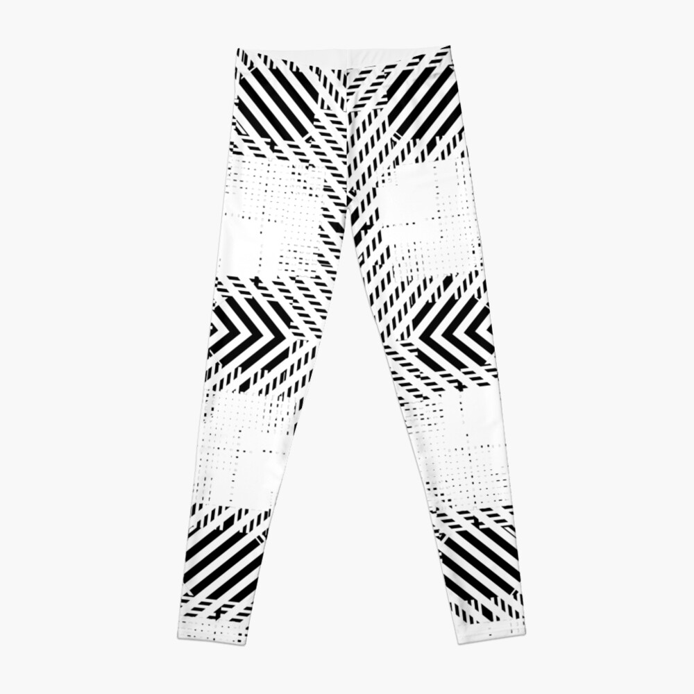 #Illustration, #pattern, #decoration, #design, abstract, black and white, monochrome, circle, geometric shape Leggings