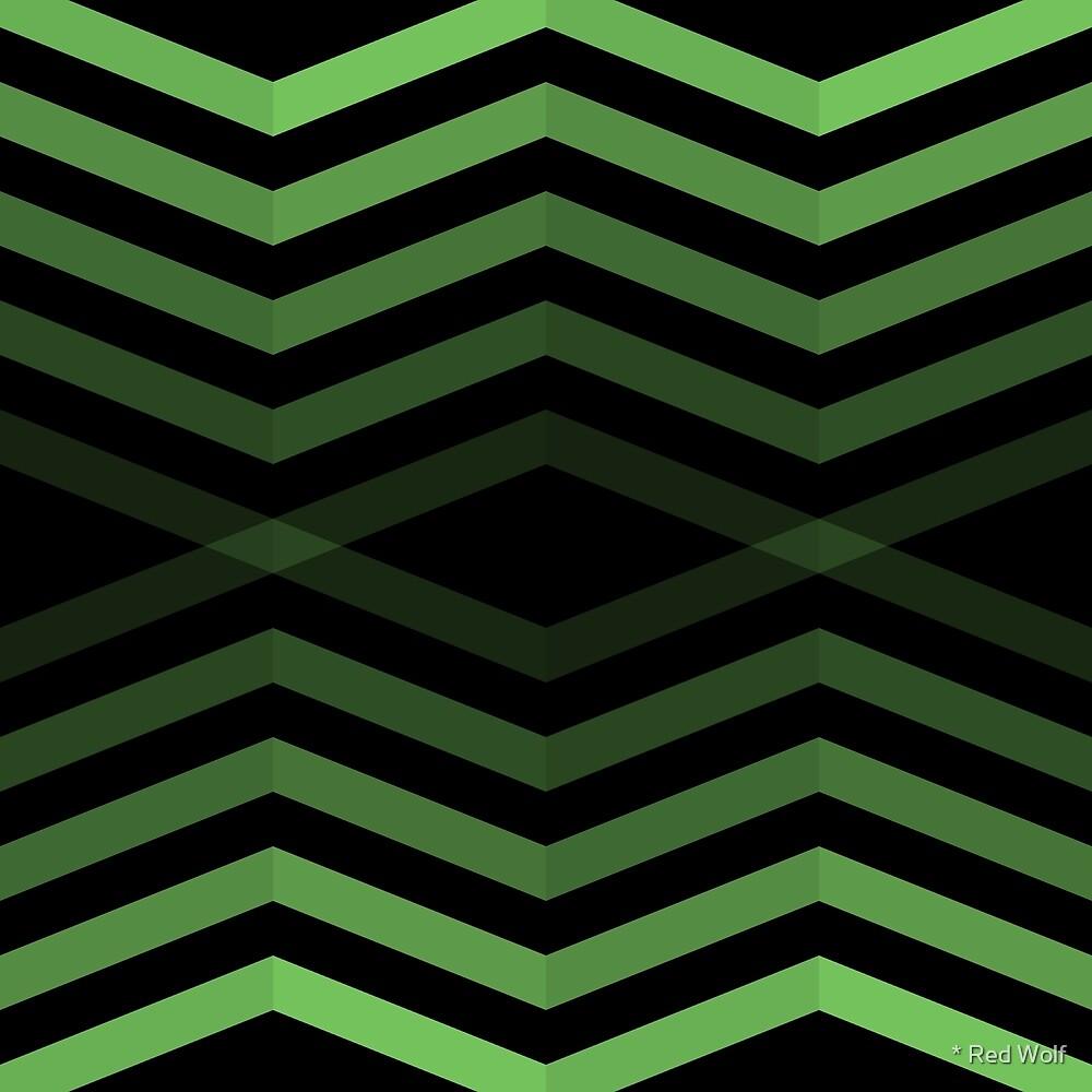 Geometric Pattern: Chevron Cascade: Green Dark by * Red Wolf