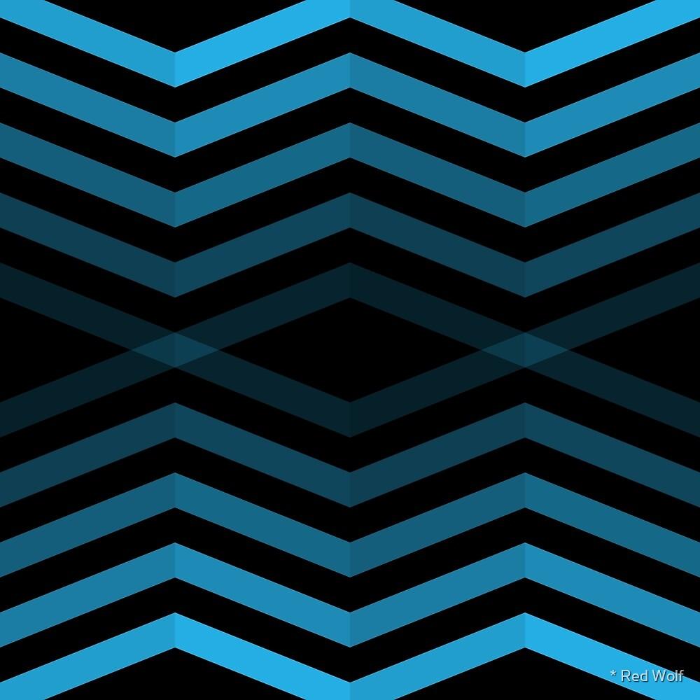 Geometric Pattern: Chevron Cascade: Blue Dark by * Red Wolf