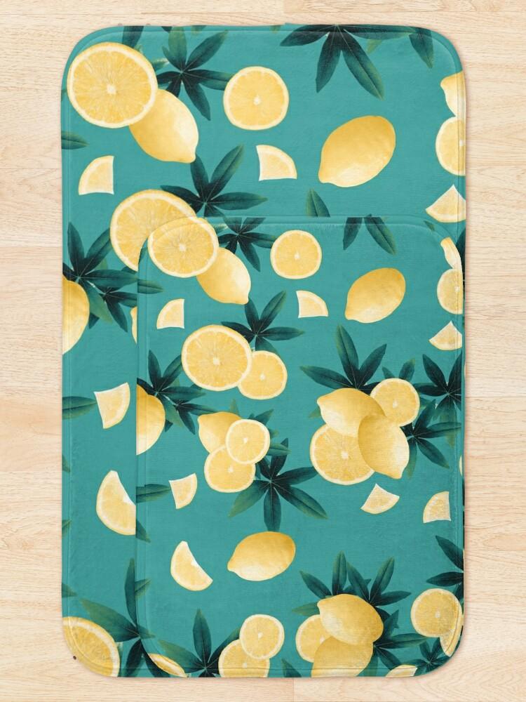 Alternate view of Lemon Twist Vibes #6 #tropical #fruit #decor #art  Bath Mat
