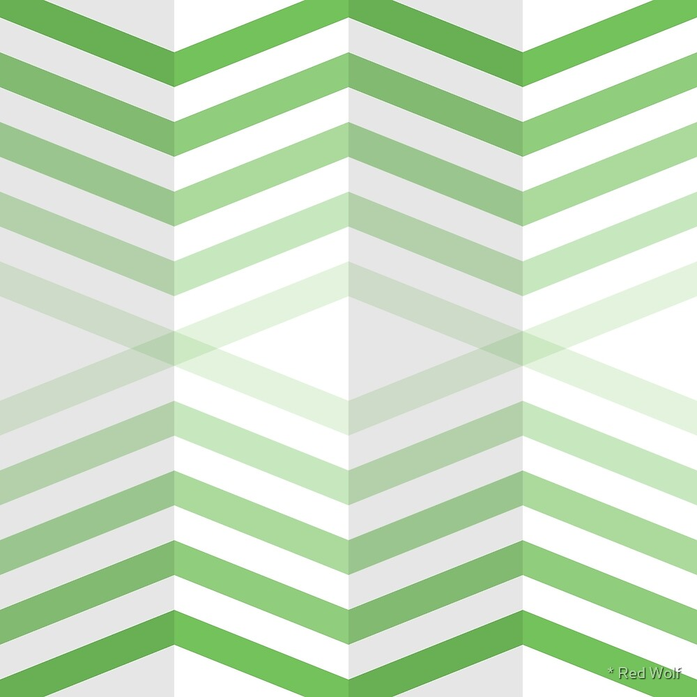 Geometric Pattern: Chevron Cascade: Green Light by * Red Wolf