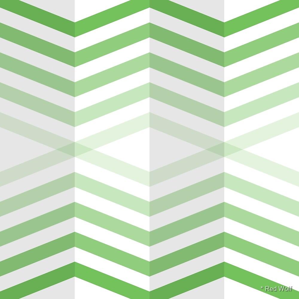 Geometric Pattern: Chevron Cascade: Green Light by * Red Wolf