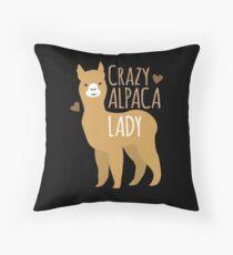 Crazy Alpaca Lady Throw Pillow