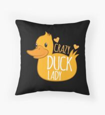 Crazy Duck Lady Throw Pillow