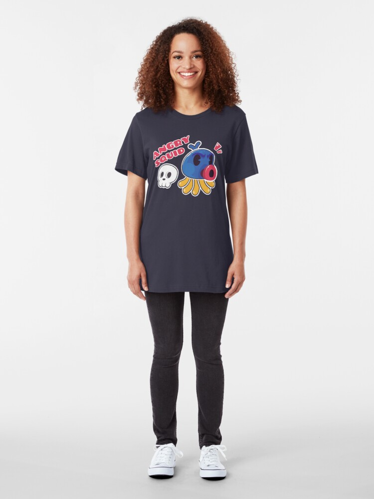 Alternate view of Angry Squid Illustration Kawaii Slim Fit T-Shirt