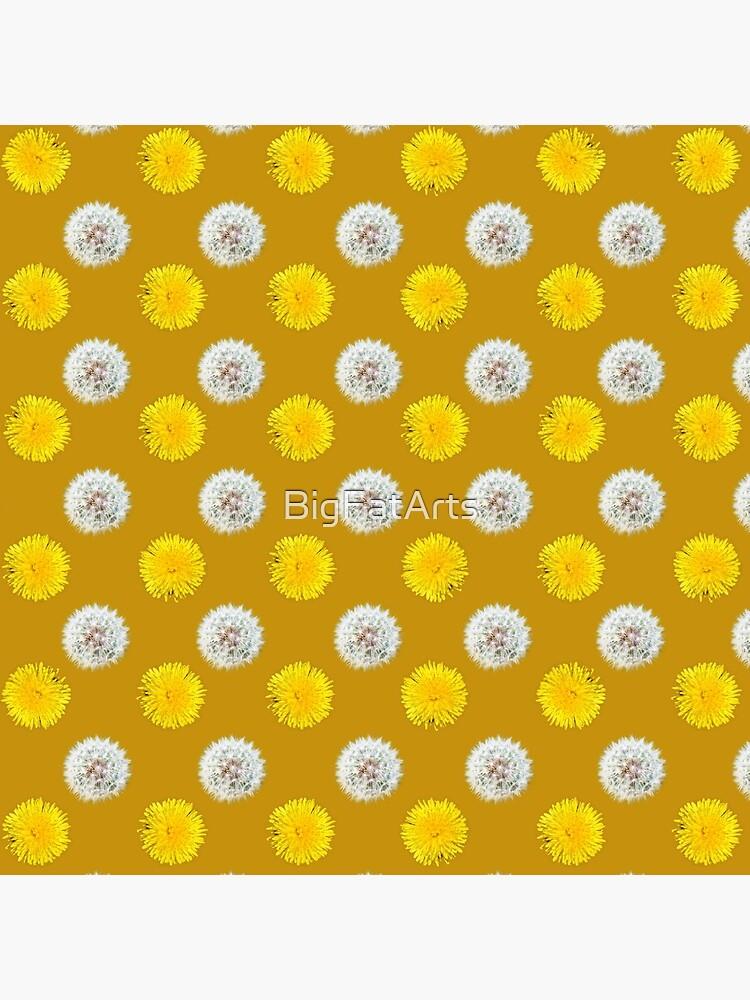 Polka Dandelions Gold by BigFatArts