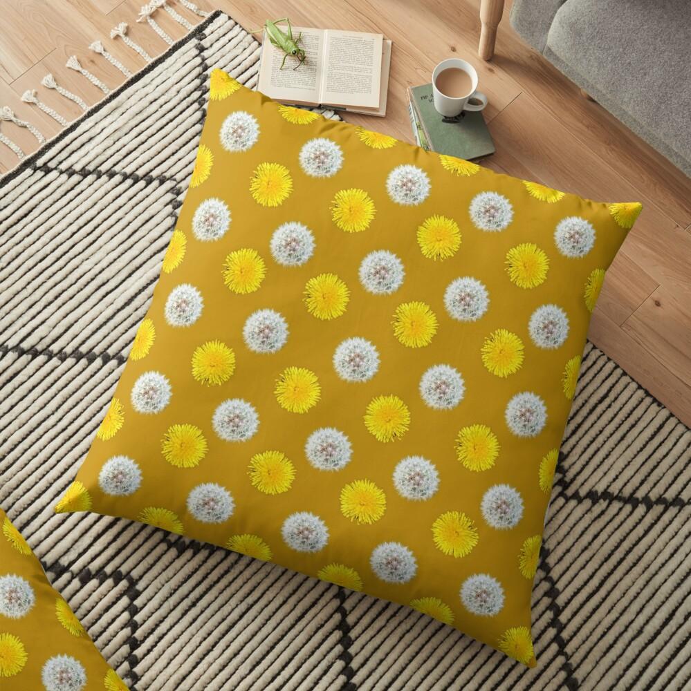 Polka Dandelions Gold Floor Pillow