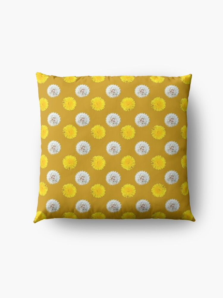 Alternate view of Polka Dandelions Gold Floor Pillow