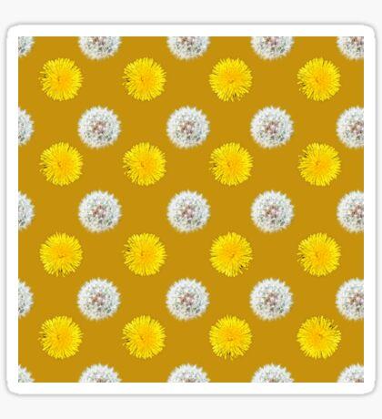 Polka Dandelions Gold Glossy Sticker