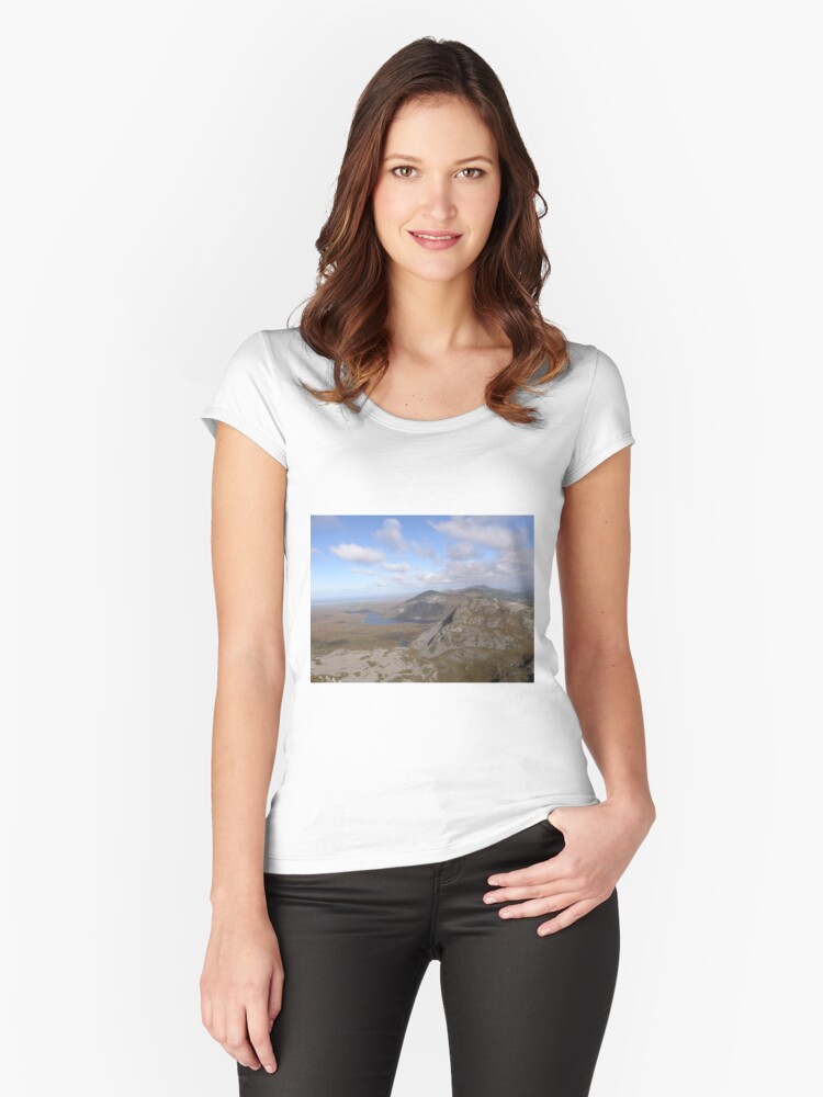 Mountain range view from Errigal Mountain Donegal Ireland Women's Fitted Scoop T-Shirt Front