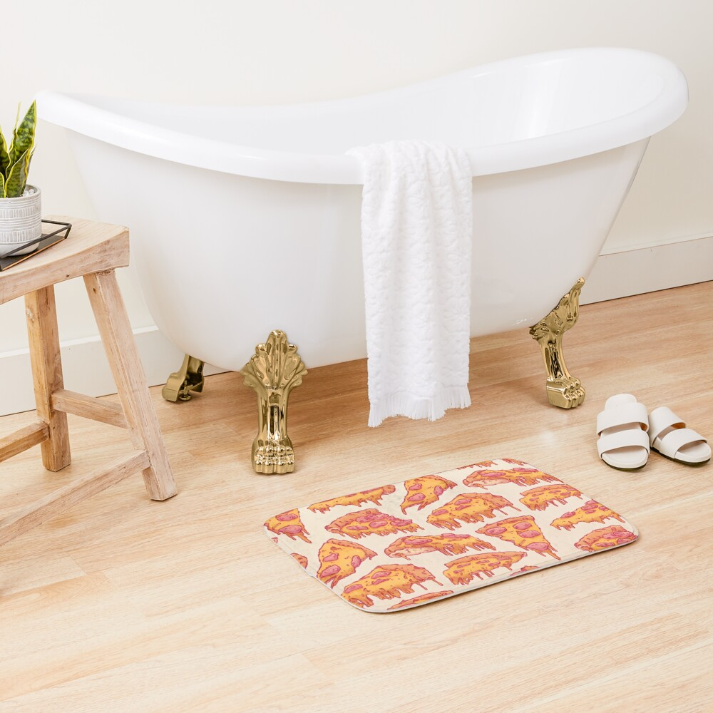 Pizza Pattern Bath Mat