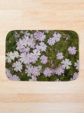 Green and Purple Watercolor Floral Pattern Bath Mat