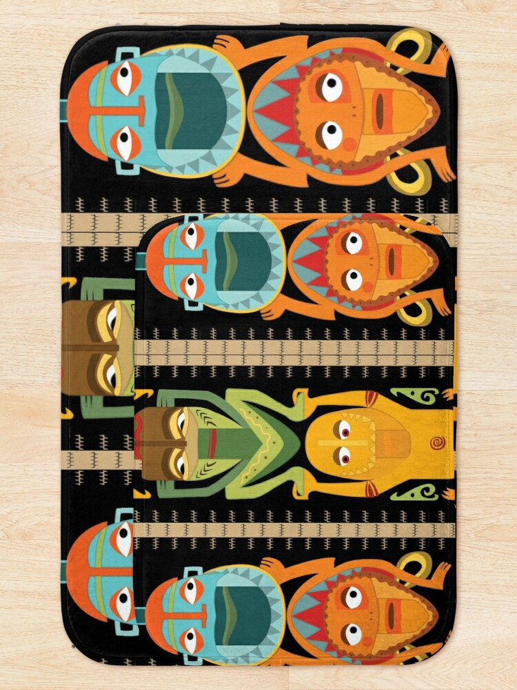 Alternate view of Tropical Hawaiian Polynesian Tiki Totems Bath Mat