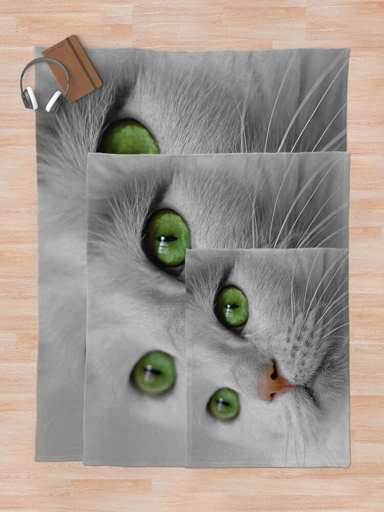 Alternate view of White Cat wit Green Eyes Throw Blanket