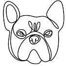 Frenchie line art, continuous line drawing art, bulldog, art, dog, frenchie sticker, frenchie shirt by PetFriendly