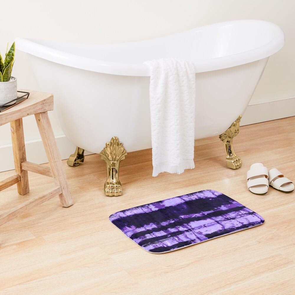 Purple Tie-Dye Shibori Stripe Bath Mat