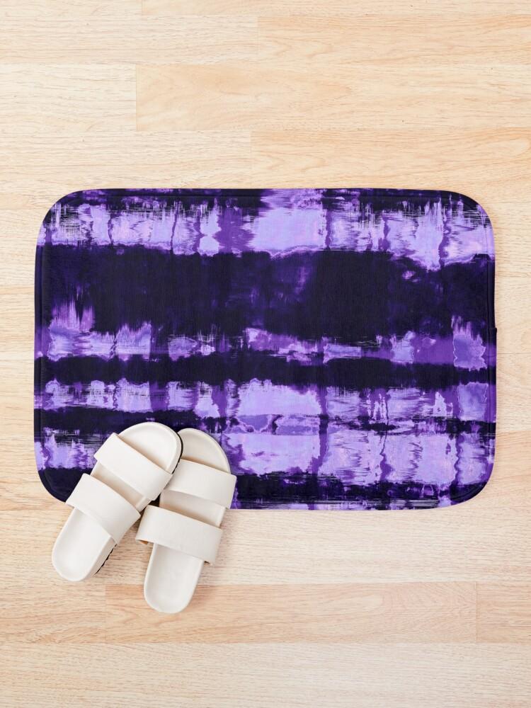 Alternate view of Purple Tie-Dye Shibori Stripe Bath Mat