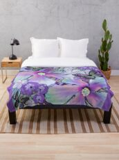 Orchid Hibiscus Tropical Throw Blanket