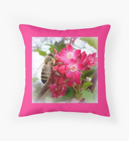 Bee on blooming jostaberry  Throw Pillow