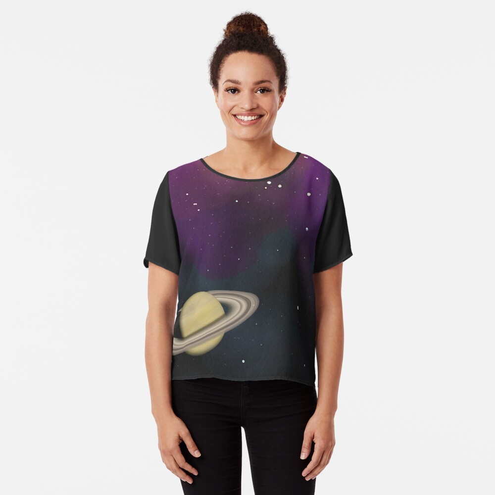 Saturn - Alien Ring Planet and Galaxy Chiffon Top