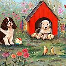 PUPPIES AND DOG HOUSE by Judy Mastrangelo
